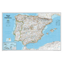Spain & Portugal Executive, Laminated: Wall Maps Countries & Regions by National Geographic Maps, 9780792249870