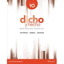 Dicho y hecho, Edition 10 Activities Manual by Kim Potowski, 9781118995808