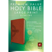 NLT Premium Value Slimline Large Print Bible: Cross Design, 9781496413864