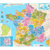 France counties and districts wall map laminated: 2017, 9782758540359