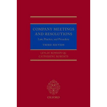 Company Meetings and Resolutions: Law, Practice, and Procedure by Leslie Kosmin, 9780198832744