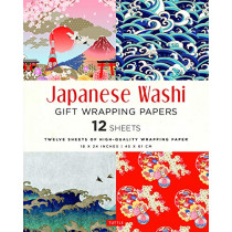 """Japanese Washi Gift Wrapping Papers: 12 Sheets of High-Quality 18 x 24"""" (45 x 61 cm) Wrapping Paper by Tuttle Publishing, 9780804852333"""