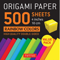 """Origami Paper 500 sheets Rainbow Colors 4"""" (10 cm): Tuttle Origami Paper: High-Quality Double-Sided Origami Sheets Printed with 12 Different Color Combinations by Tuttle Publishing, 9780804852364"""