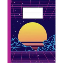 80s notebook: A fun and trendy 80's theme composition book: College ruled, soft back: Perfect for school work: Vaporwave sunset design by Cool Wave Accessories, 9781091254244